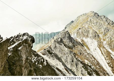 View of the High Tatra mountains peak.