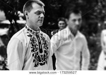 Stylish Groom With His Best Men Waiting For A Bride, Wedding Ceremony