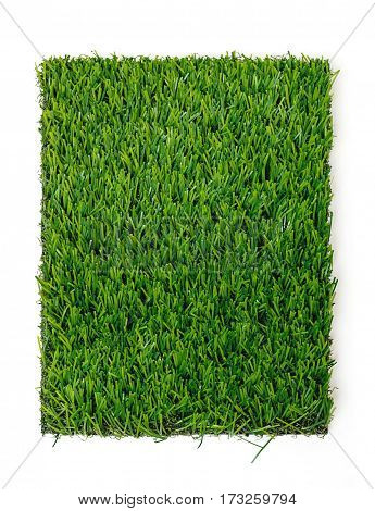 Grass mat on white background. Artificial turf tile background.