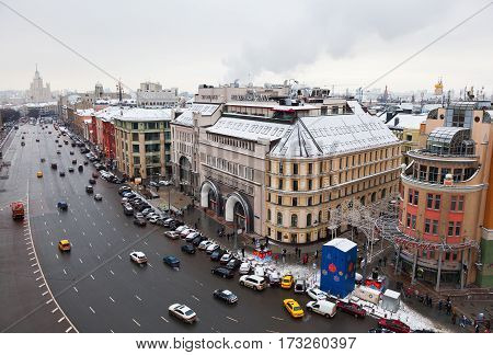 MOSCOW, RUSSIA - JAN 04, 2017: Moscow, city center, car traffic on the street Theatre way, Lubyanskaya square, The Hotel
