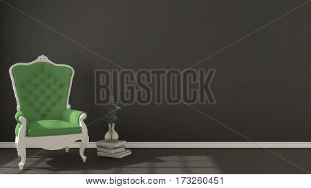 Classic dark living background with white and green vintage armchair on herringbone natural parquet flooring interior design, 3d illustration