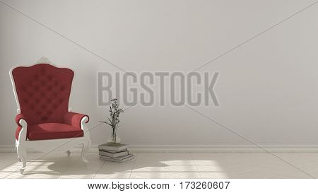 Classic living background with white and red vintage armchair on herringbone natural parquet flooring interior design, 3d illustration