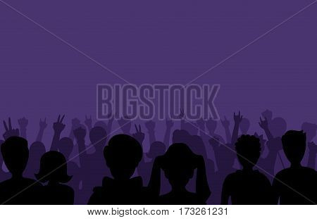 Group of people black business male female concept and fun standing crowd of position team silhouettes friends fans pose vector illustration. Young show student style businessmen or woman.