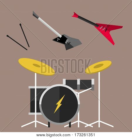 Beautiful modern electric guitar jazz instrument string concert style acoustic sound tool and musical play metal song classic rock roll drum vector illustration. Style retro bass equipment icon.