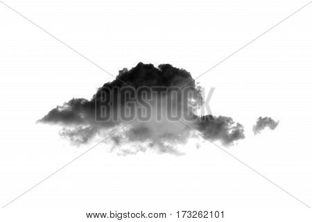 Close up of dark clouds on white background