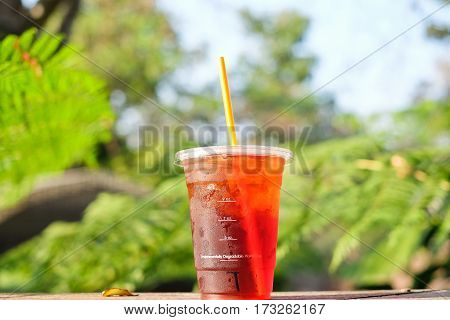 fresh Iced Tea in plastic glass for relax with nature