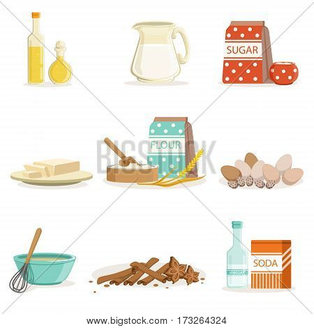 Baking Ingredients And Kitchen Tools And Utensils Collection Of Realistic Cartoon Vector Illustrations With Cooking Related Objects. Kitchen Equipment And Farm Fresh Products For Bakery Needs Series Of Colorful Icons.