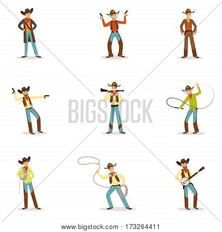 North American Cowboy With Different Accessories Set Of Cartoon Characters, Modern Western Cattle Hurdlers In Traditional Texan Cowboy Outfit. Man Dressed In Wild West Rodeo Participant Costume Vector Illustrations.