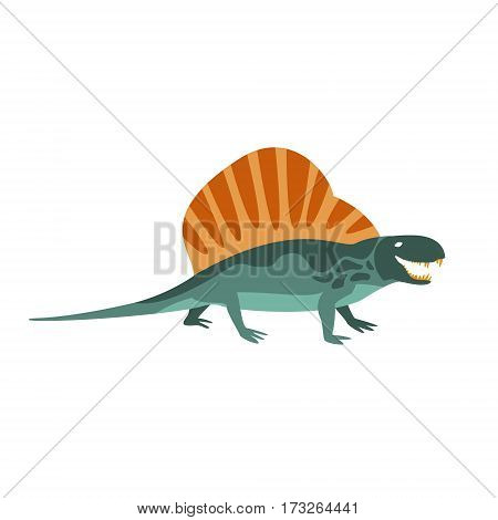 Dimetrodon Green Dinosaur Of Jurassic Period, Prehistoric Extinct Giant Reptile Cartoon Realistic Animal. Simplified Dinosaur Species Vector Illustration With Recognizable Details Of Ancient Fauna.