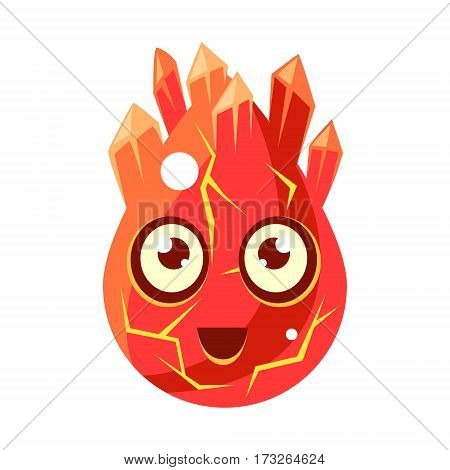 Red Lava Element Egg-Shaped Cute Fantastic Character With Big Eyes Vector Emoji Icon. Video Game Template Item For Magic Flash Game Design Constructor Isolated Cartoon Object.