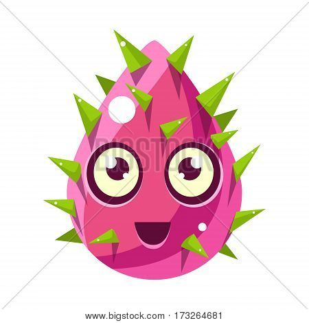 Pink Plant Bud With Spikes, Egg-Shaped Cute Fantastic Character With Big Eyes Vector Emoji Icon. Video Game Template Item For Magic Flash Game Design Constructor Isolated Cartoon Object.