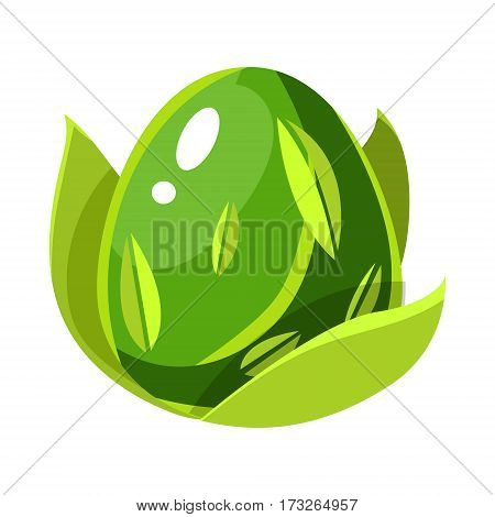 Green Nature Force Element Egg With Leaf Pattern, Fantastic Natural Element Egg-Shaped Bright Color Vector Icon. Video Game Template Item For Magic Flash Game Design Constructor Isolated Cartoon Object.