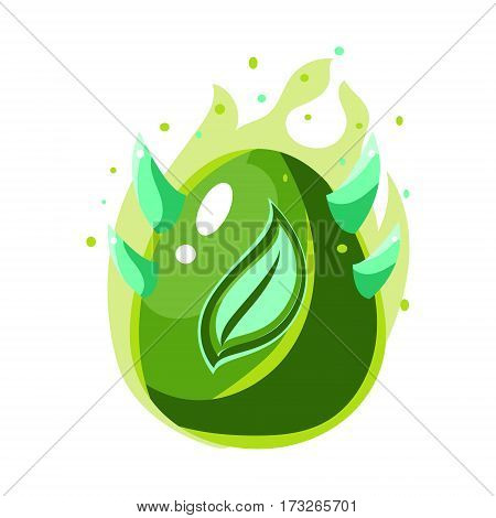 Egg With Green Flames And Leaf Print , Fantastic Natural Element Egg-Shaped Bright Color Vector Icon. Video Game Template Item For Magic Flash Game Design Constructor Isolated Cartoon Object.