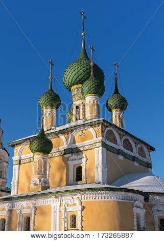 Domes of the Church of St John the Baptist in Uglich in winter, Russia