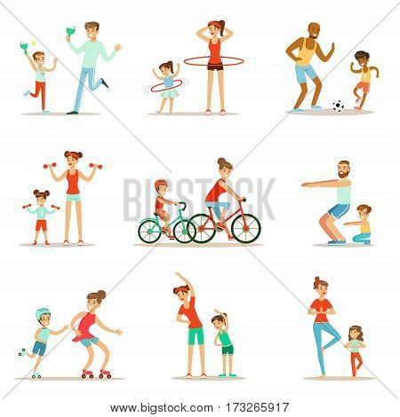Parent And Child Doing Sportive Exercises And Sport Training Together Having Fun Set Of Scenes. Cartoon Characters Enjoying Physical Activity With Kids Doing Similar Workout In Gym And Outdoors.