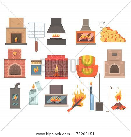 Indoors And Outdoors Fireplaces And Bonfires With Related Attributes And Tools Set Of Vector Cartoon Objects. Isolated Items For House Interior Decor And Home Warming.