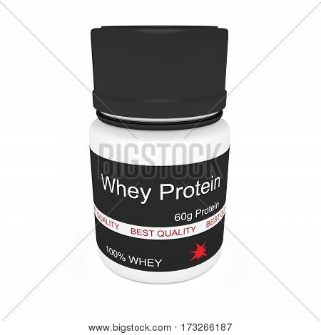 Dietary Supplement: Plastic Pill Bottle Whey Protein 3d illustration isolated on white background