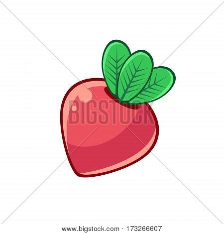 Red Beetroot With Leaves, Food Item Outlined Isolated Childish Icon For Flash Game Design Or Slot Machine. Eatable Element Of Farming Video Game For Children Cartoon Vector Illustration.