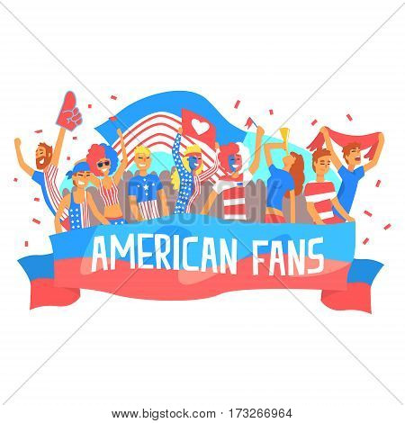 Cheering Happy Supporting Crowd Of National American Football Spots Team Fans And Devotees With Banners And Attributes. Sportive Support Team With Flags Screaming And Smiling On A Stadium Vector Illustration.