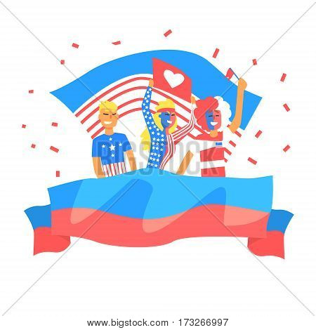 Cheering Happy Supporting Crowd Of American National Football Spots Team Fans And Devotees With Banners And Attributes. Sportive Support Team With Flags Screaming And Smiling On A Stadium Vector Illustration.