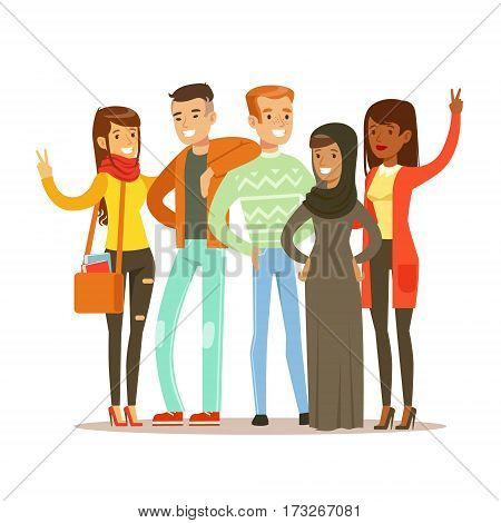 Young Friends From All Around The World Standing Posing For Photo, Happy International Friendship Vector Cartoon Illustration. People Of Different Nationalities Smiling United Showing Peace Gesture.