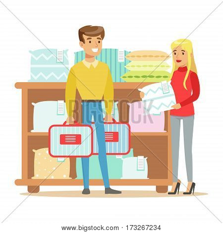 Couple Buying Bedsheets For Bedroom, Smiling Shopper In Furniture Shop Shopping For House Decor Elements. Cartoon Characters Looking For Home Interior Design Items In Shopping Mall.