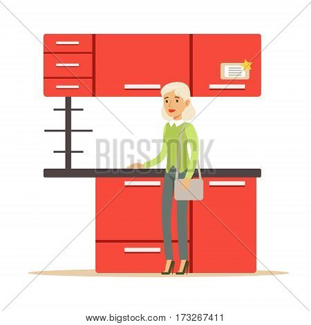 Woman Buying Red Kitchen Set, Smiling Shopper In Furniture Shop Shopping For House Decor Elements. Cartoon Character Looking For Home Interior Design Items In Shopping Mall.