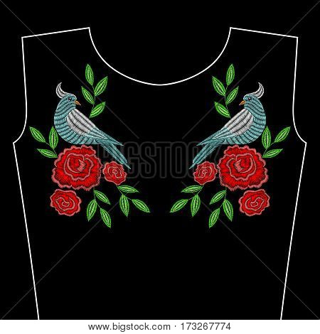Embroidery stitches with red rose flowers, bird for neckline. Vector fashion ornament on black background for textile, fabric traditional folk decoration.