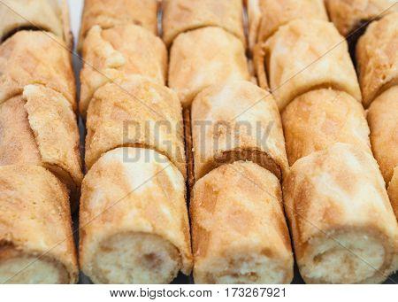 Closeup To Blur Vanilla Flavor Crispy Biscuit Roll Background