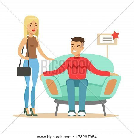 Couple Choosing Armchair For Living Room, Smiling Shopper In Furniture Shop Shopping For House Decor Elements. Cartoon Characters Looking For Home Interior Design Items In Shopping Mall.
