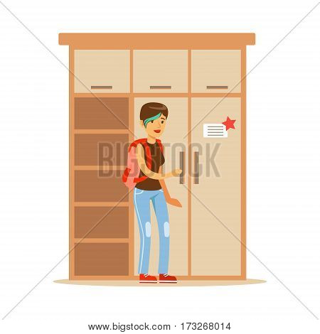 Woman Choosing Dresser For Wardrobe, Smiling Shopper In Furniture Shop Shopping For House Decor Elements. Cartoon Character Looking For Home Interior Design Items In Shopping Mall.