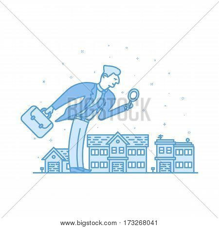 Vector illustration of Investor businessman in flat bold linear style. Man looking for investment opportunity with smile on his face. Concept of investing, real estate concept- outline stock objects.