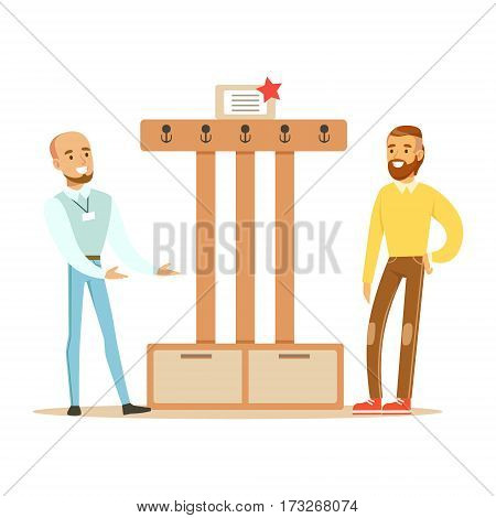 Seller Showing Hanger For The Hall To Man, Smiling Shopper In Furniture Shop Shopping For House Decor Elements. Cartoon Characters Looking For Home Interior Design Items In Shopping Mall.
