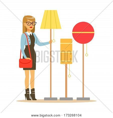 Woman Choosing A Living Room Lamp, Smiling Shopper In Furniture Shop Shopping For House Decor Elements. Cartoon Character Looking For Home Interior Design Items In Shopping Mall.