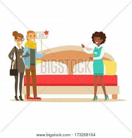 Store Seller Demonstrating King Size Bed To Couple, Smiling Shopper In Furniture Shop Shopping For House Decor Elements. Cartoon Characters Looking For Home Interior Design Items In Shopping Mall.