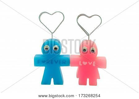 Cute Forever Love Couple Doll Magnetic Isolated/ White Background