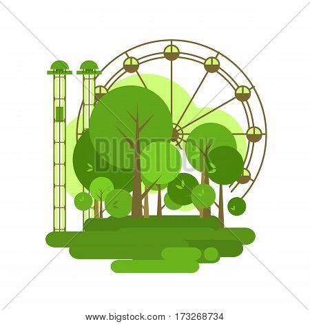 Vector illustration of an urban amusement park Ferris wheel isolated on white background