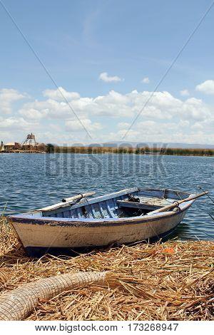 Peruvian boat on reed islands on Lake Titicaca in Peru, South America