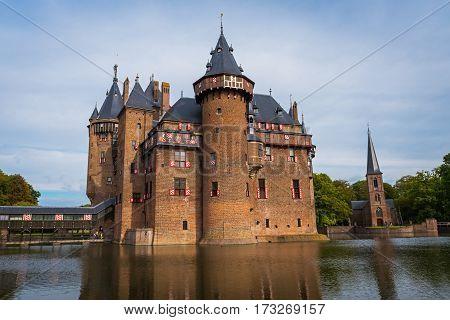 Medieval castle  De Haar near Utrecht in autumn, the Netherlands