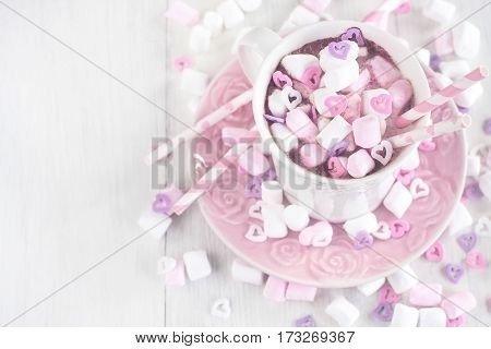 Hot Chocolate With Marshmallow Background