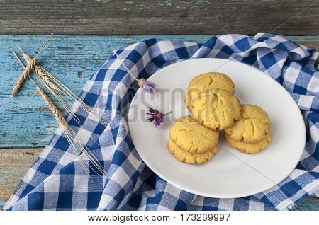 homemade cookies on a wooden background, natural foods