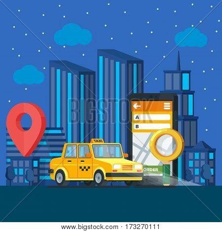 Taxi service. Banner in flat 3d style. Yellow taxi cab. Mobile phone with map and big city night on background. City silhouette with skyscrapers. Vector illustrations flat design in flat modern style