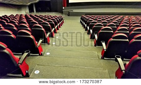 Empty Hall In Movie Theater
