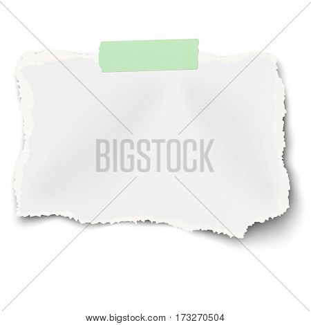 Ripped rectangular paper scrap with torn edges and soft shadow on piece of green sticky adhesive tape isolated on white background. Template design.