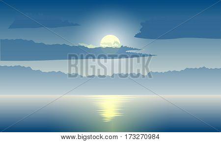 Abstract night background moonlight at sea. Vector illustration.
