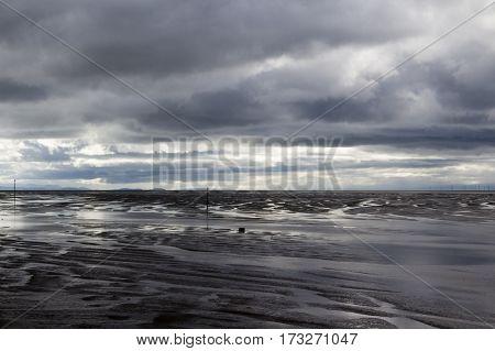 Hoylake Beach Wirral Merseyside England on a stormy day
