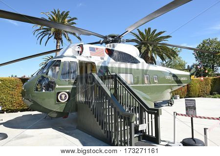 YORBA LINDA, CALIFORNIA - FEBRUARY 24, 2017: Marine One Nixon Library. The helicopter was used by 4 presidents, Kennedy, Johnson, Nixon and Ford.