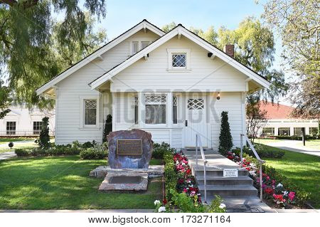 YORBA LINDA, CALIFORNIA - FEBRUARY 24, 2017: Richard Nixon Birthplace. The home is on the grounds of the Presidential Library and is the final resting place of the 37th president.
