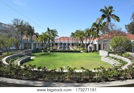 YORBA LINDA, CALIFORNIA - FEBRUARY 24, 2017: Grounds at the Richard Nixon Library and Birthplace. The presidential library and museum and final resting place of the 37th president.