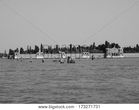 San Michele Cemetery Island In Venice In Black And White